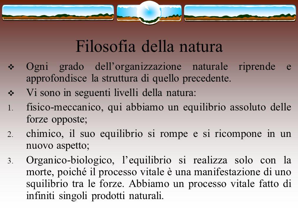Filosofia della natura  Ogni grado dell'organizzazione naturale riprende e approfondisce la struttura di quello precedente.  Vi sono in seguenti liv