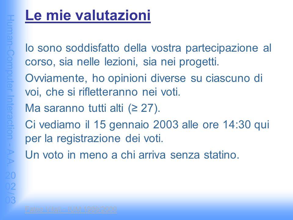 Human-Computer Interaction - A.A. 2002/03 Fabio Vitali - IUM 1999/2000 Le mie valutazioni Io sono soddisfatto della vostra partecipazione al corso, si