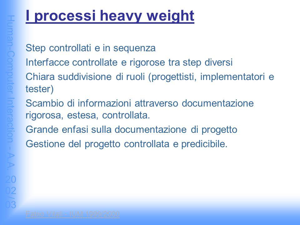 Human-Computer Interaction - A.A. 2002/03 Fabio Vitali - IUM 1999/2000 I processi heavy weight Step controllati e in sequenza Interfacce controllate e