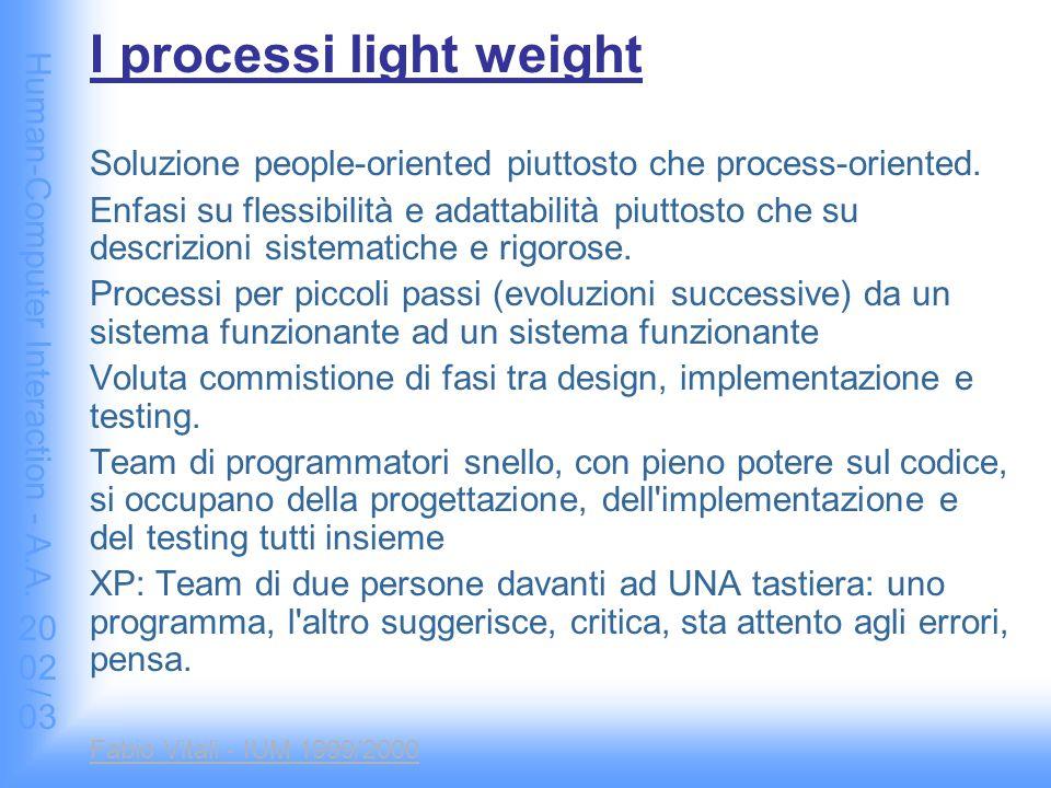 Human-Computer Interaction - A.A. 2002/03 Fabio Vitali - IUM 1999/2000 I processi light weight Soluzione people-oriented piuttosto che process-oriente
