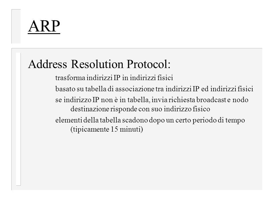 ARP Address Resolution Protocol: trasforma indirizzi IP in indirizzi fisici basato su tabella di associazione tra indirizzi IP ed indirizzi fisici se indirizzo IP non è in tabella, invia richiesta broadcast e nodo destinazione risponde con suo indirizzo fisico elementi della tabella scadono dopo un certo periodo di tempo (tipicamente 15 minuti)