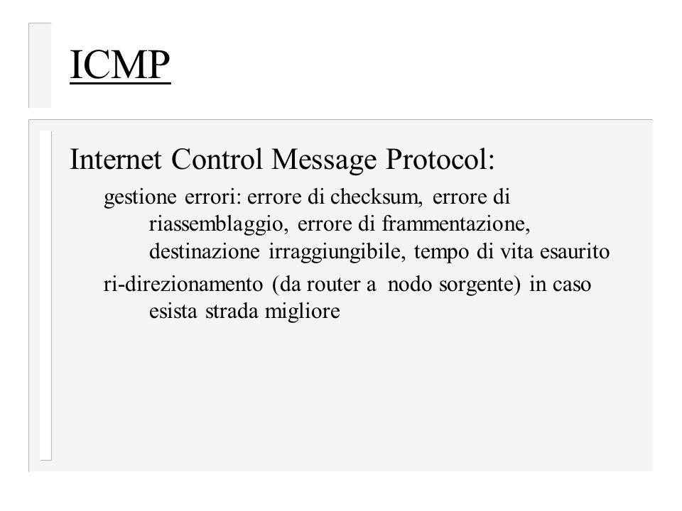 ICMP Internet Control Message Protocol: gestione errori: errore di checksum, errore di riassemblaggio, errore di frammentazione, destinazione irraggiungibile, tempo di vita esaurito ri-direzionamento (da router a nodo sorgente) in caso esista strada migliore