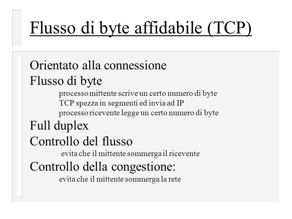 Flusso di byte affidabile (TCP) Orientato alla connessione Flusso di byte processo mittente scrive un certo numero di byte TCP spezza in segmenti ed i