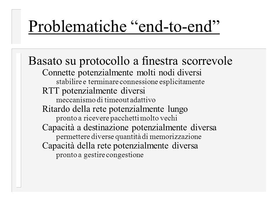 """Problematiche """"end-to-end"""" Basato su protocollo a finestra scorrevole Connette potenzialmente molti nodi diversi stabilire e terminare connessione esp"""