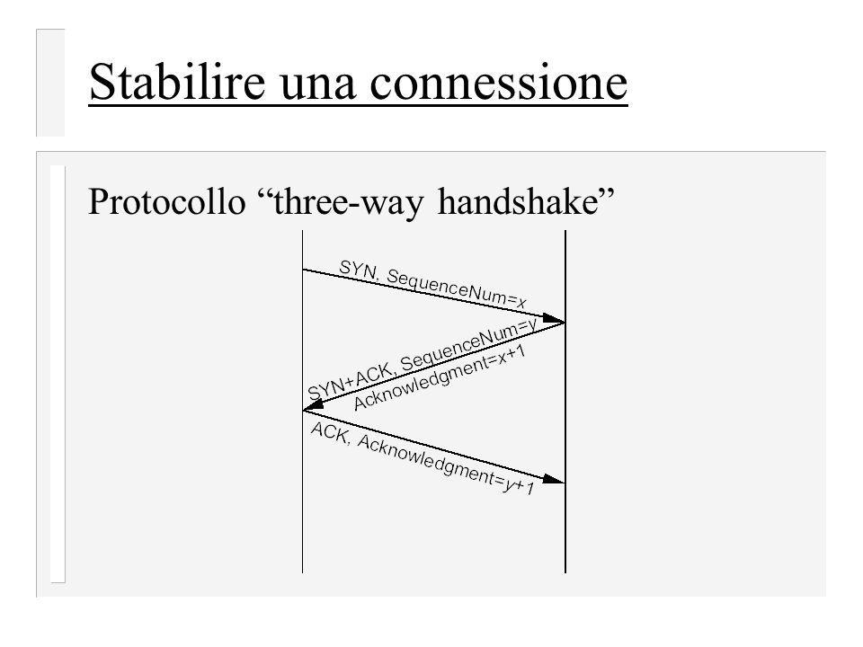 """Stabilire una connessione Protocollo """"three-way handshake"""""""