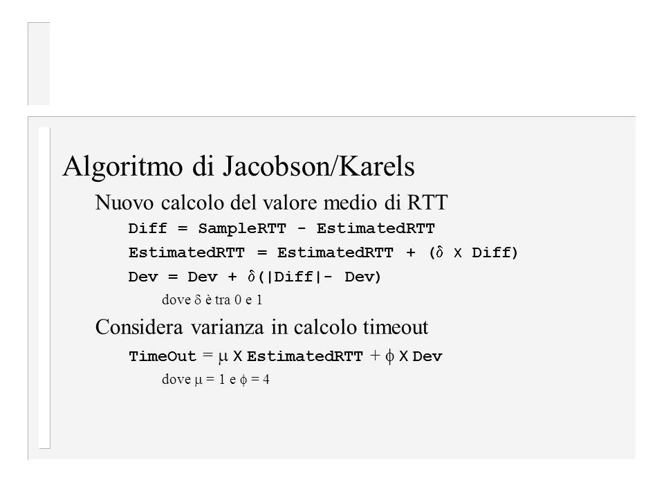 Algoritmo di Jacobson/Karels Nuovo calcolo del valore medio di RTT Diff = SampleRTT - EstimatedRTT EstimatedRTT = EstimatedRTT + (  x Diff) Dev = Dev +  (|Diff|- Dev) dove  è tra 0 e 1 Considera varianza in calcolo timeout TimeOut =  x EstimatedRTT +  x Dev dove  = 1 e  = 4