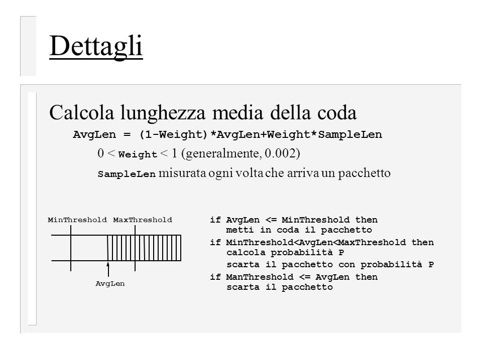 Dettagli Calcola lunghezza media della coda AvgLen = (1-Weight)*AvgLen+Weight*SampleLen 0 < Weight < 1 (generalmente, 0.002) SampleLen misurata ogni v