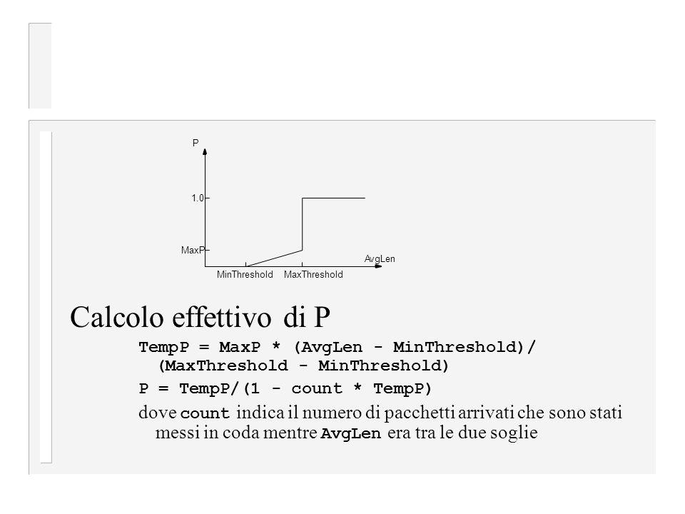 Calcolo effettivo di P TempP = MaxP * (AvgLen - MinThreshold)/ (MaxThreshold - MinThreshold) P = TempP/(1 - count * TempP) dove count indica il numero di pacchetti arrivati che sono stati messi in coda mentre AvgLen era tra le due soglie P 1.0 MaxP MinThresholdMaxThreshold AvgLen