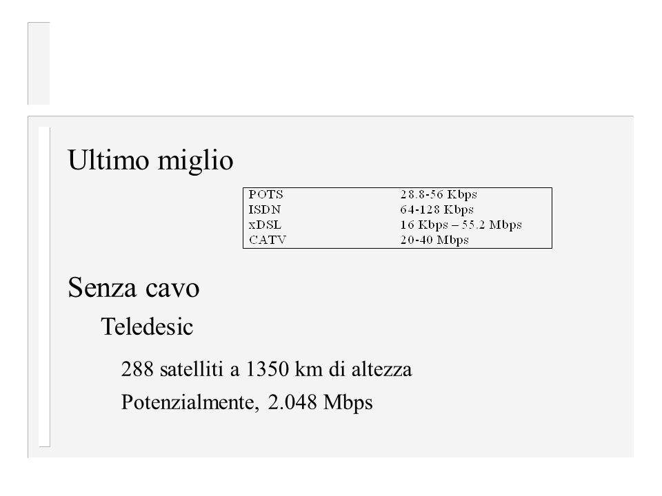 Ultimo miglio Senza cavo Teledesic 288 satelliti a 1350 km di altezza Potenzialmente, 2.048 Mbps