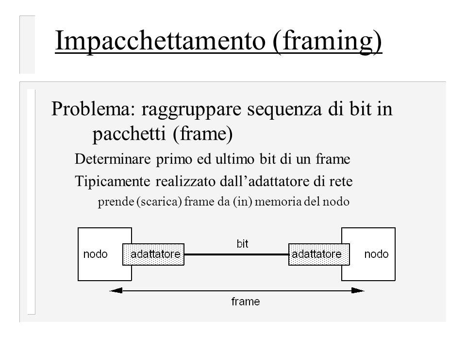 Impacchettamento (framing) Problema: raggruppare sequenza di bit in pacchetti (frame) Determinare primo ed ultimo bit di un frame Tipicamente realizzato dall'adattatore di rete prende (scarica) frame da (in) memoria del nodo