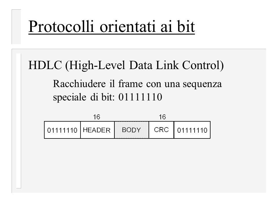 Protocolli orientati ai bit HDLC (High-Level Data Link Control) Racchiudere il frame con una sequenza speciale di bit: 01111110