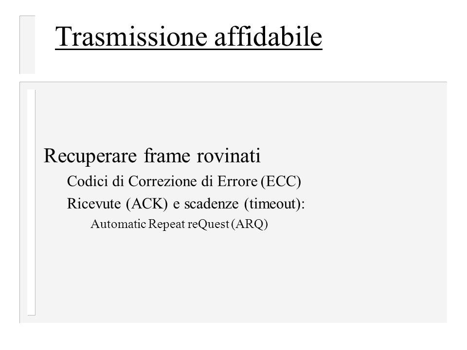 Trasmissione affidabile Recuperare frame rovinati Codici di Correzione di Errore (ECC) Ricevute (ACK) e scadenze (timeout): Automatic Repeat reQuest (ARQ)