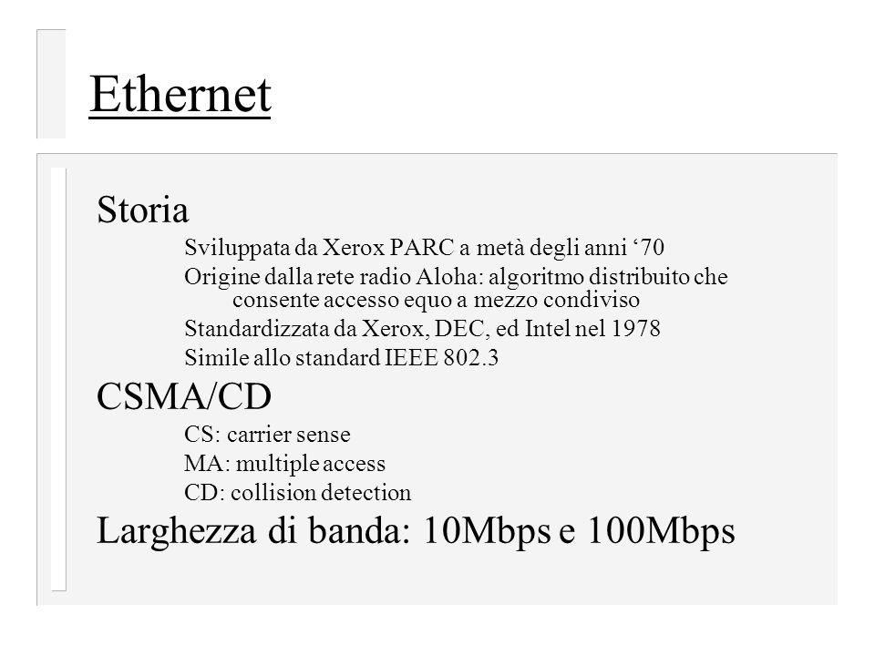 Ethernet Storia Sviluppata da Xerox PARC a metà degli anni '70 Origine dalla rete radio Aloha: algoritmo distribuito che consente accesso equo a mezzo condiviso Standardizzata da Xerox, DEC, ed Intel nel 1978 Simile allo standard IEEE 802.3 CSMA/CD CS: carrier sense MA: multiple access CD: collision detection Larghezza di banda: 10Mbps e 100Mbps