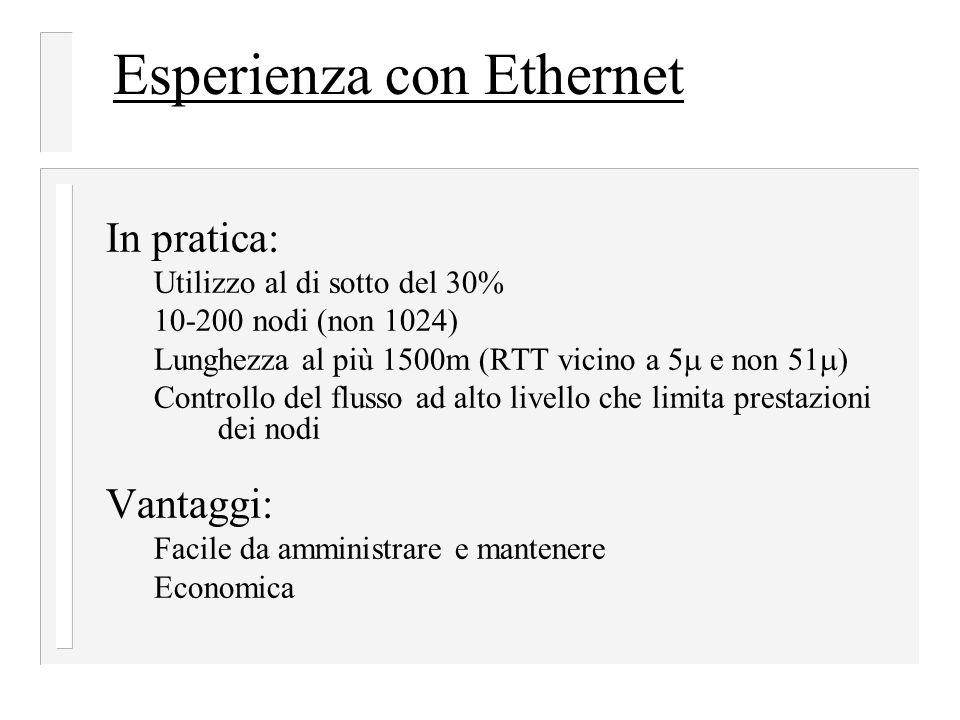 Esperienza con Ethernet In pratica: Utilizzo al di sotto del 30% 10-200 nodi (non 1024) Lunghezza al più 1500m (RTT vicino a 5  e non 51  ) Controllo del flusso ad alto livello che limita prestazioni dei nodi Vantaggi: Facile da amministrare e mantenere Economica