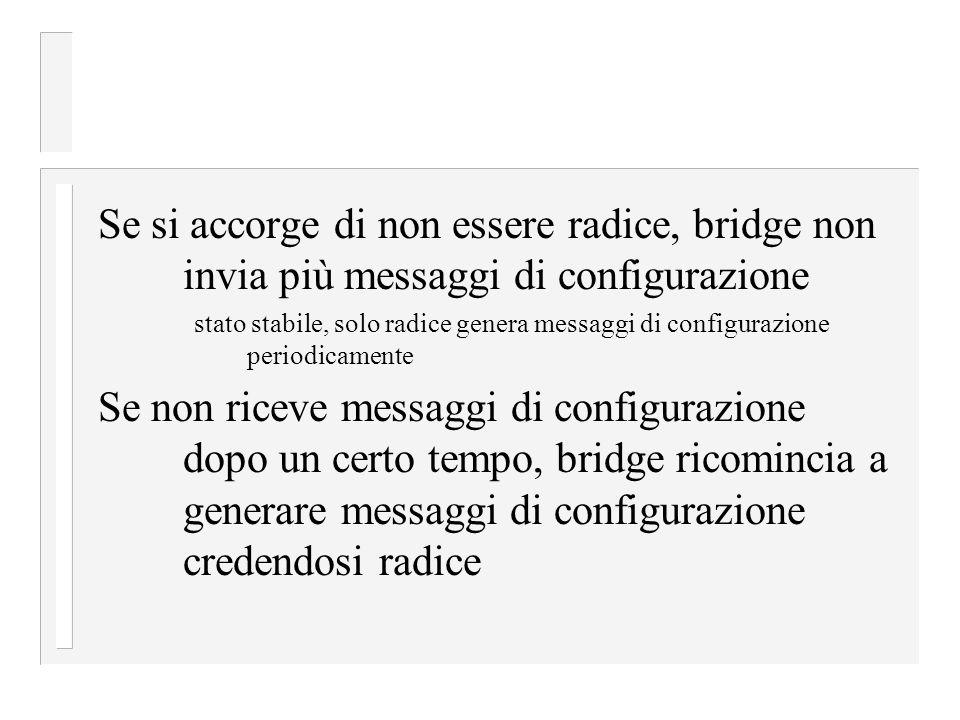 Se si accorge di non essere radice, bridge non invia più messaggi di configurazione stato stabile, solo radice genera messaggi di configurazione periodicamente Se non riceve messaggi di configurazione dopo un certo tempo, bridge ricomincia a generare messaggi di configurazione credendosi radice