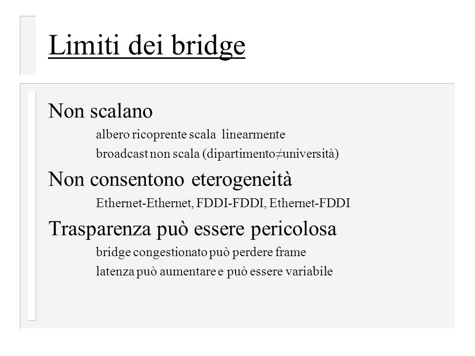 Limiti dei bridge Non scalano albero ricoprente scala linearmente broadcast non scala (dipartimento≠università) Non consentono eterogeneità Ethernet-E