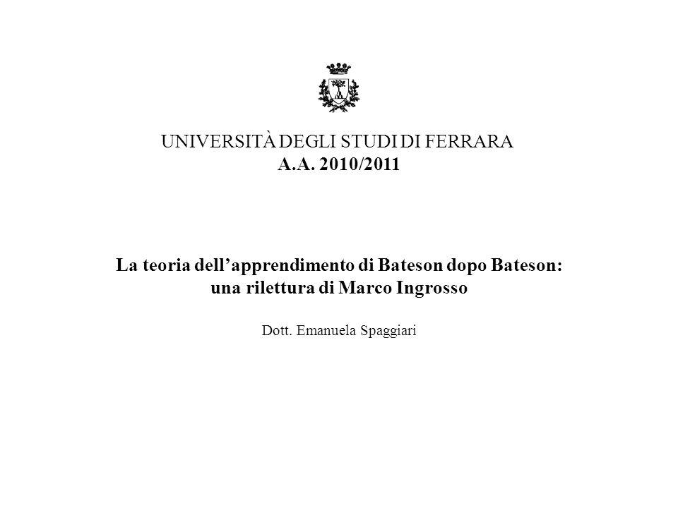 La teoria dell'apprendimento di Bateson dopo Bateson: una rilettura di Marco Ingrosso Dott.