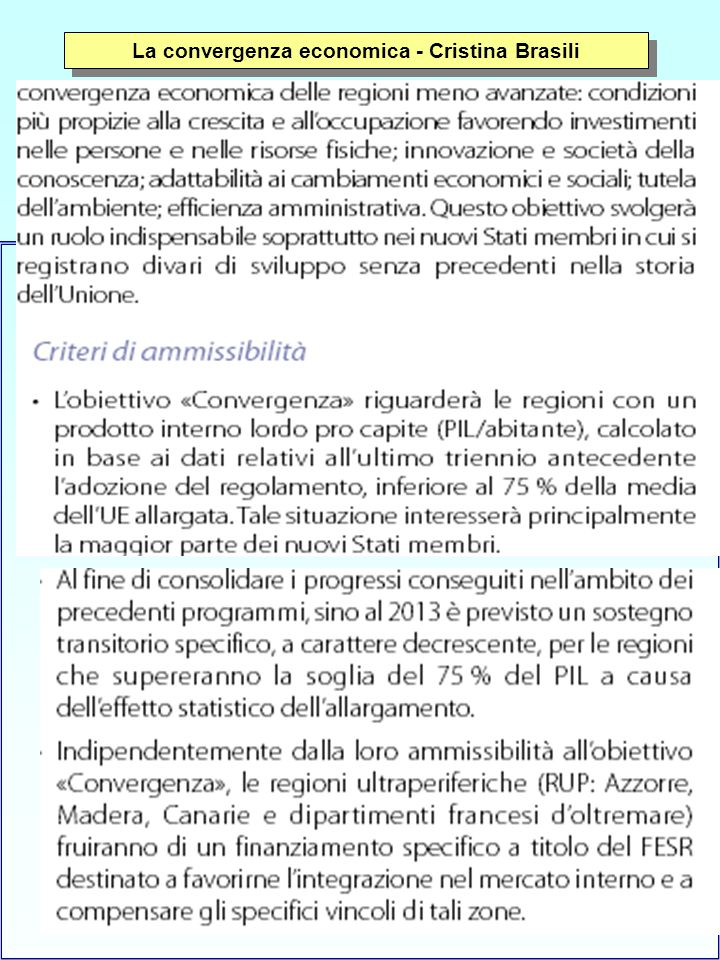 16 La convergenza economica - Cristina Brasili