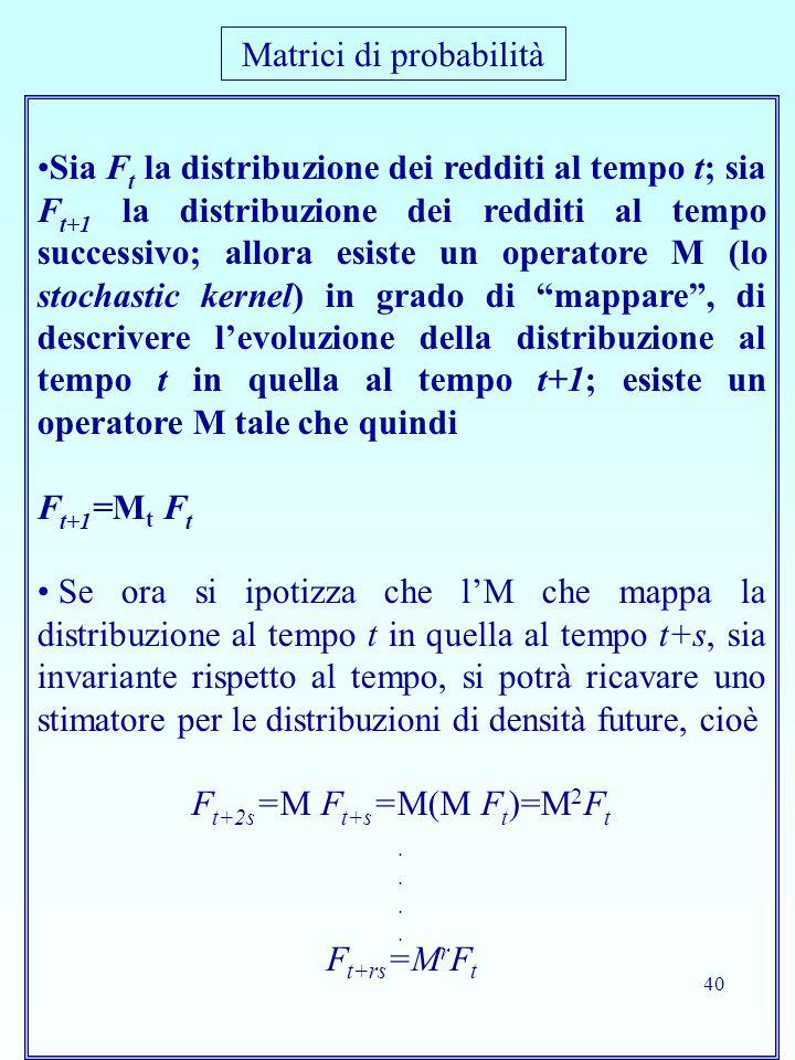 40 Sia F t la distribuzione dei redditi al tempo t; sia F t+1 la distribuzione dei redditi al tempo successivo; allora esiste un operatore M (lo stochastic kernel) in grado di mappare , di descrivere l'evoluzione della distribuzione al tempo t in quella al tempo t+1; esiste un operatore M tale che quindi F t+1 =M t F t Se ora si ipotizza che l'M che mappa la distribuzione al tempo t in quella al tempo t+s, sia invariante rispetto al tempo, si potrà ricavare uno stimatore per le distribuzioni di densità future, cioè F t+2s =M F t+s =M(M F t )=M 2 F t.