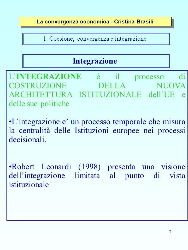 8 Convergenza La CONVERGENZA è il processo utilizzato per misurare ed ottenere la coesione.