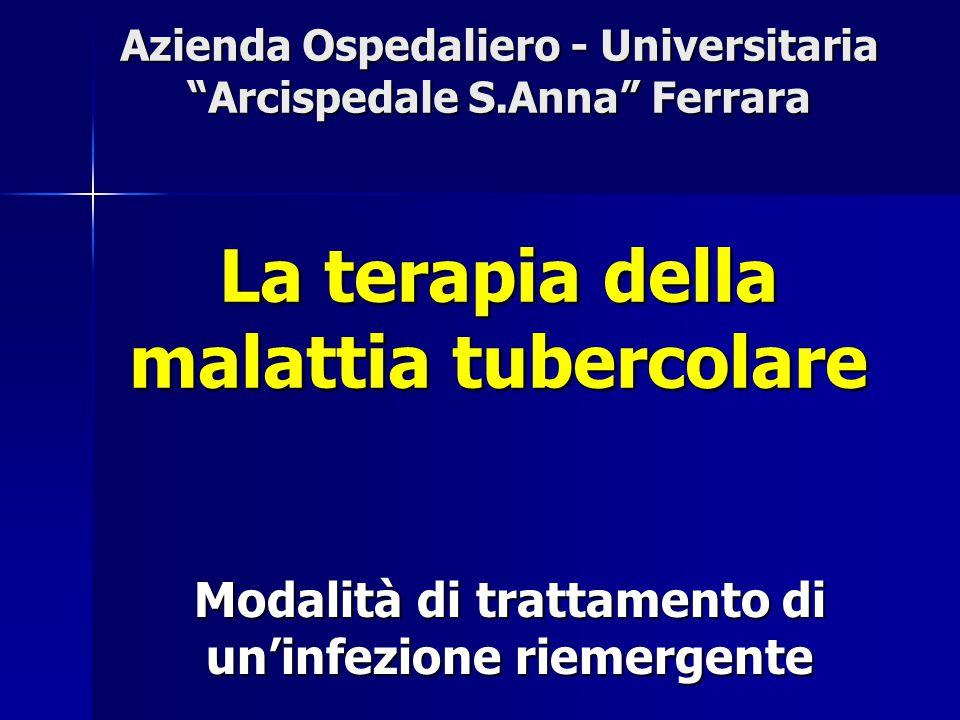 Farmaci di prima scelta e dosaggi in terapia quotidiana I farmaci attualmente considerati di prima scelta nel trattamento antitubercolare sono: Isoniazide (INI): 5 mg/kg/die Isoniazide (INI): 5 mg/kg/die (max 300 mg/die) Rifampicina (RMP): 10-12 mg/kg/die Rifampicina (RMP): 10-12 mg/kg/die (max 600 mg) Pirazinamide (PZA): 25 mg/kg/die Pirazinamide (PZA): 25 mg/kg/die (max 2 g/die) Streptomicina (SM): 15 mg/kg/die Streptomicina (SM): 15 mg/kg/die (max 1 g/die; se pz.