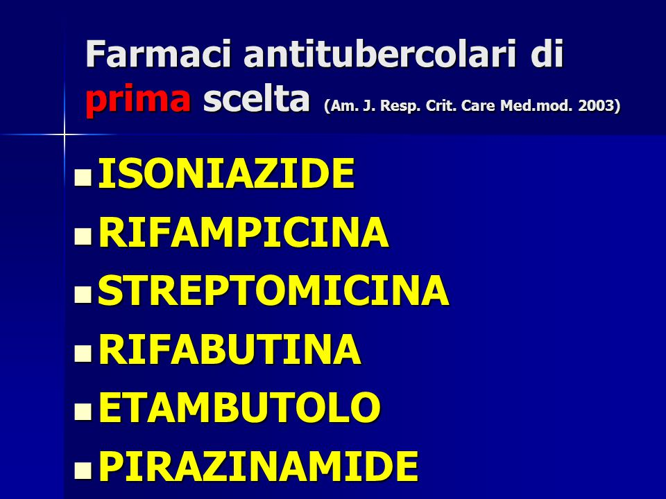 Farmaci antitubercolari di prima scelta (Am. J. Resp. Crit. Care Med.mod. 2003) ISONIAZIDE ISONIAZIDE RIFAMPICINA RIFAMPICINA STREPTOMICINA STREPTOMIC