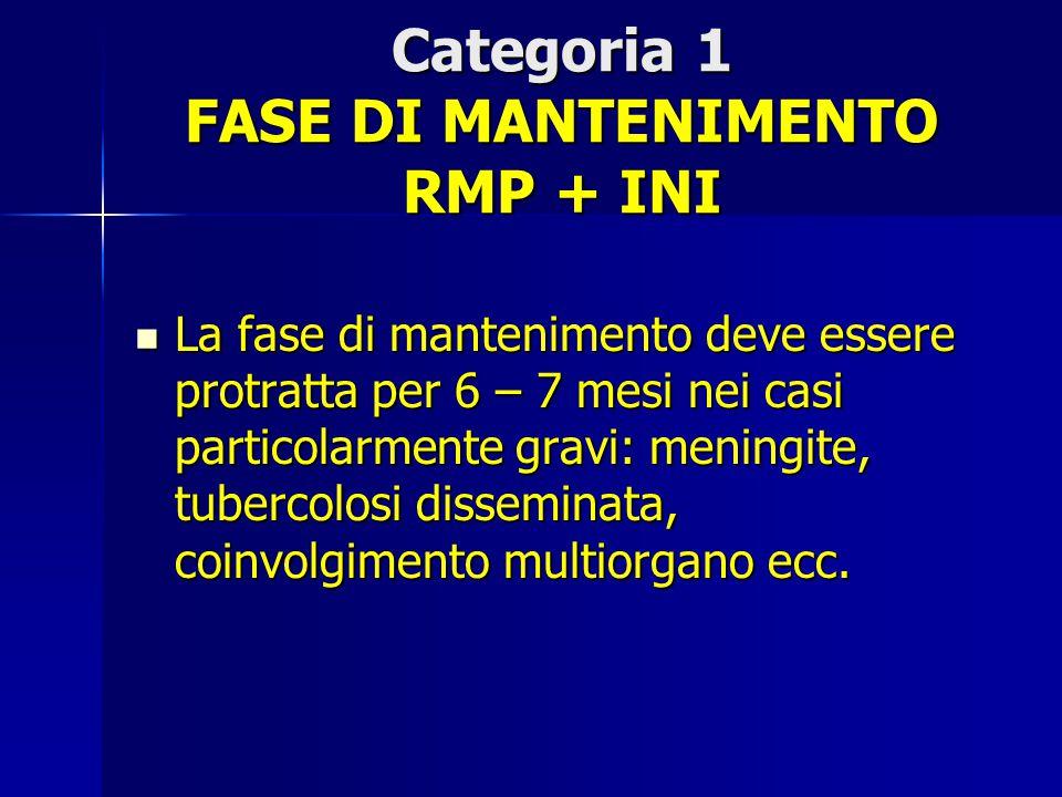 Categoria 1 FASE DI MANTENIMENTO RMP + INI La fase di mantenimento deve essere protratta per 6 – 7 mesi nei casi particolarmente gravi: meningite, tub