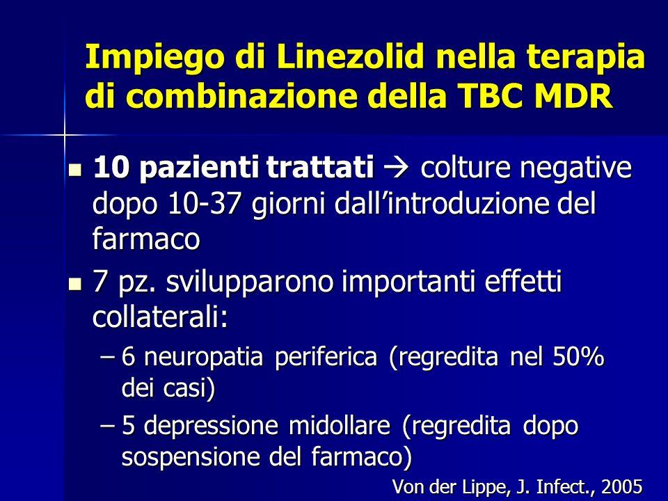 Impiego di Linezolid nella terapia di combinazione della TBC MDR 10 pazienti trattati  colture negative dopo 10-37 giorni dall'introduzione del farma