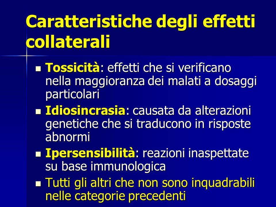 Caratteristiche degli effetti collaterali Tossicità: effetti che si verificano nella maggioranza dei malati a dosaggi particolari Tossicità: effetti c