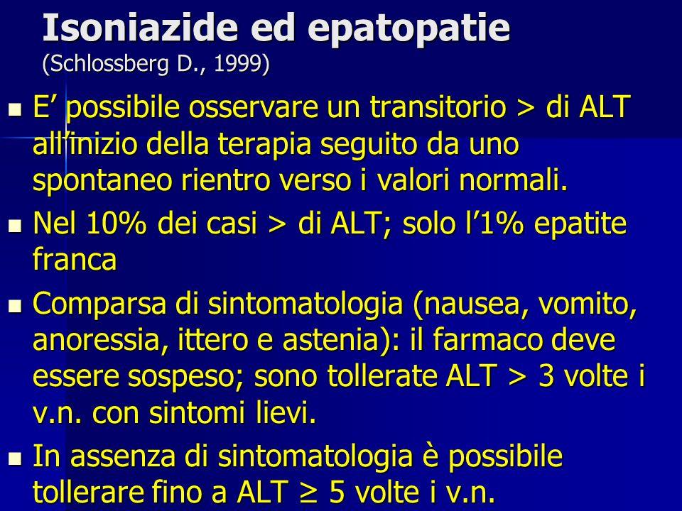 Isoniazide ed epatopatie (Schlossberg D., 1999) E' possibile osservare un transitorio > di ALT all'inizio della terapia seguito da uno spontaneo rient