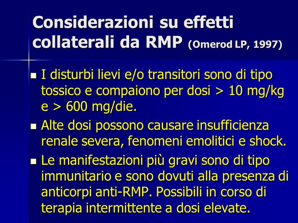 Considerazioni su effetti collaterali da RMP (Omerod LP, 1997) I disturbi lievi e/o transitori sono di tipo tossico e compaiono per dosi > 10 mg/kg e