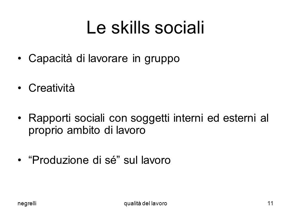 negrelliqualità del lavoro11 Le skills sociali Capacità di lavorare in gruppo Creatività Rapporti sociali con soggetti interni ed esterni al proprio ambito di lavoro Produzione di sé sul lavoro