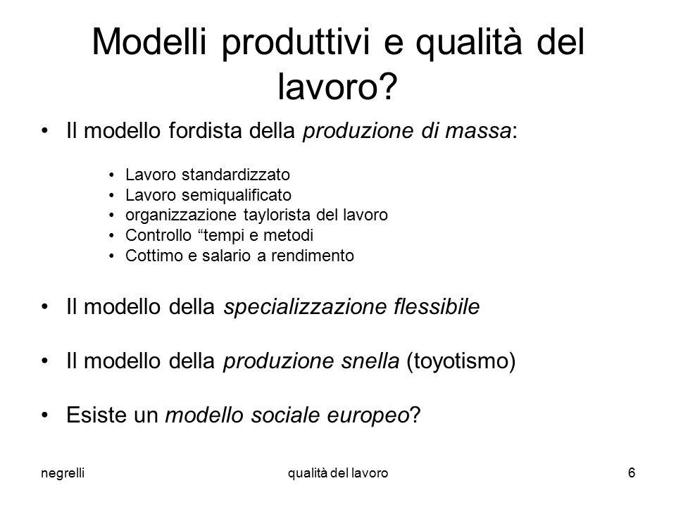negrelliqualità del lavoro6 Modelli produttivi e qualità del lavoro.