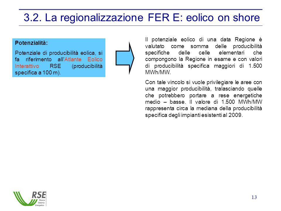 13 3.2. La regionalizzazione FER E: eolico on shore Potenzialità: Potenziale di producibilità eolica, si fa riferimento all'Atlante Eolico Interattivo