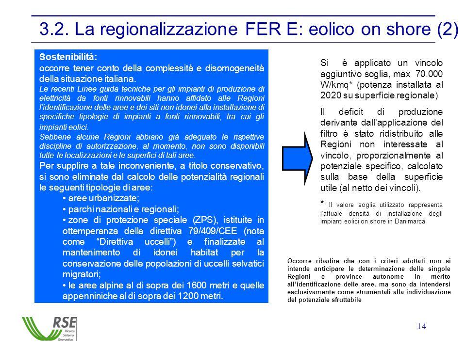 14 3.2. La regionalizzazione FER E: eolico on shore (2) Sostenibilità: occorre tener conto della complessità e disomogeneità della situazione italiana