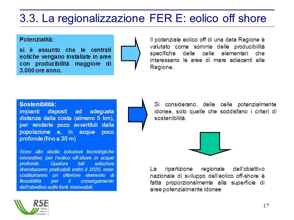 17 3.3. La regionalizzazione FER E: eolico off shore Potenzialità: si è assunto che le centrali eoliche vengano installate in aree con producibilità m
