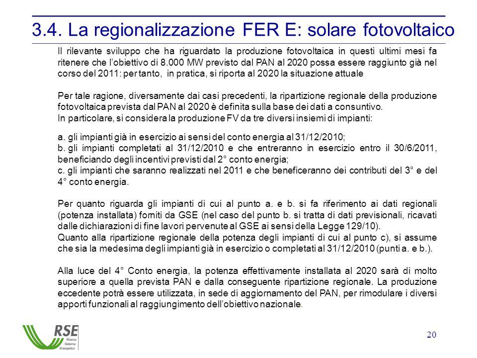 20 3.4. La regionalizzazione FER E: solare fotovoltaico Il rilevante sviluppo che ha riguardato la produzione fotovoltaica in questi ultimi mesi fa ri