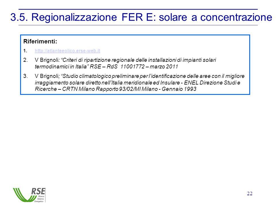 22 3.5. Regionalizzazione FER E: solare a concentrazione Riferimenti: 1.http://atlanteeolico.erse-web.ithttp://atlanteeolico.erse-web.it 2.V Brignoli: