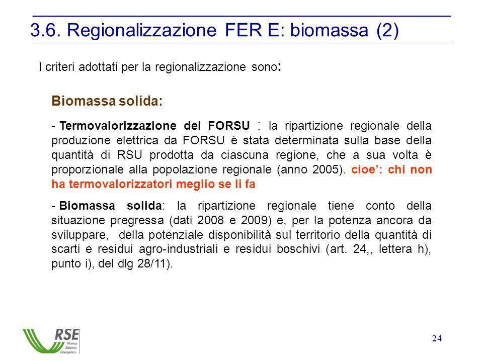 24 3.6. Regionalizzazione FER E: biomassa (2) I criteri adottati per la regionalizzazione sono : Biomassa solida: - Termovalorizzazione dei FORSU : la