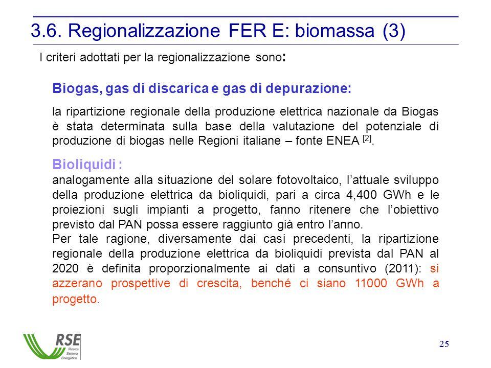 25 3.6. Regionalizzazione FER E: biomassa (3) I criteri adottati per la regionalizzazione sono : Biogas, gas di discarica e gas di depurazione: la rip