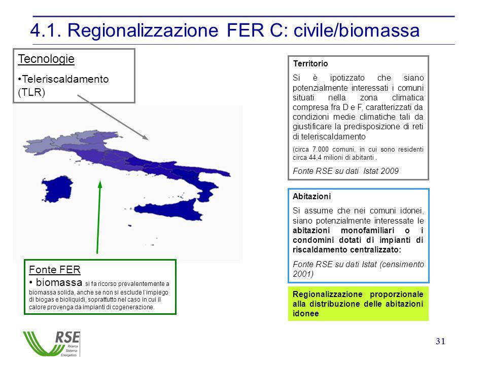 31 4.1. Regionalizzazione FER C: civile/biomassa Fonte FER biomassa si fa ricorso prevalentemente a biomassa solida, anche se non si esclude l'impiego