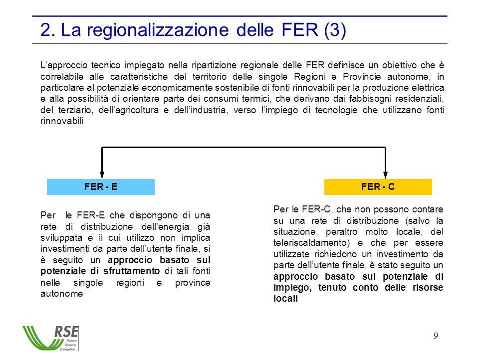 9 2. La regionalizzazione delle FER (3) FER - EFER - C Per le FER-E che dispongono di una rete di distribuzione dell'energia già sviluppata e il cui u