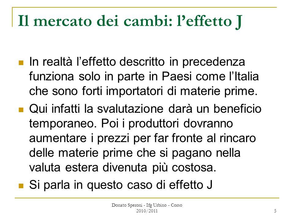 Donato Speroni - Ifg Urbino - Corso 2010/2011 5 Il mercato dei cambi: l'effetto J In realtà l'effetto descritto in precedenza funziona solo in parte in Paesi come l'Italia che sono forti importatori di materie prime.