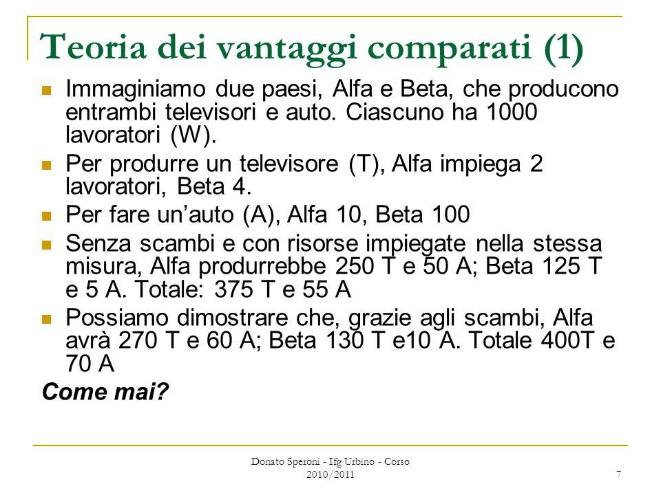Donato Speroni - Ifg Urbino - Corso 2010/2011 7 Teoria dei vantaggi comparati (1) Immaginiamo due paesi, Alfa e Beta, che producono entrambi televisori e auto.