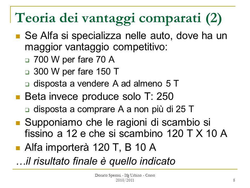 Donato Speroni - Ifg Urbino - Corso 2010/2011 8 Teoria dei vantaggi comparati (2) Se Alfa si specializza nelle auto, dove ha un maggior vantaggio competitivo:  700 W per fare 70 A  300 W per fare 150 T  disposta a vendere A ad almeno 5 T Beta invece produce solo T: 250  disposta a comprare A a non più di 25 T Supponiamo che le ragioni di scambio si fissino a 12 e che si scambino 120 T X 10 A Alfa importerà 120 T, B 10 A …il risultato finale è quello indicato