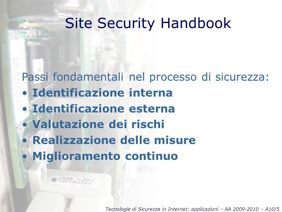 Tecnologie di Sicurezza in Internet: applicazioni – AA 2009-2010 – A10/5 Site Security Handbook Passi fondamentali nel processo di sicurezza: Identificazione interna Identificazione esterna Valutazione dei rischi Realizzazione delle misure Miglioramento continuo