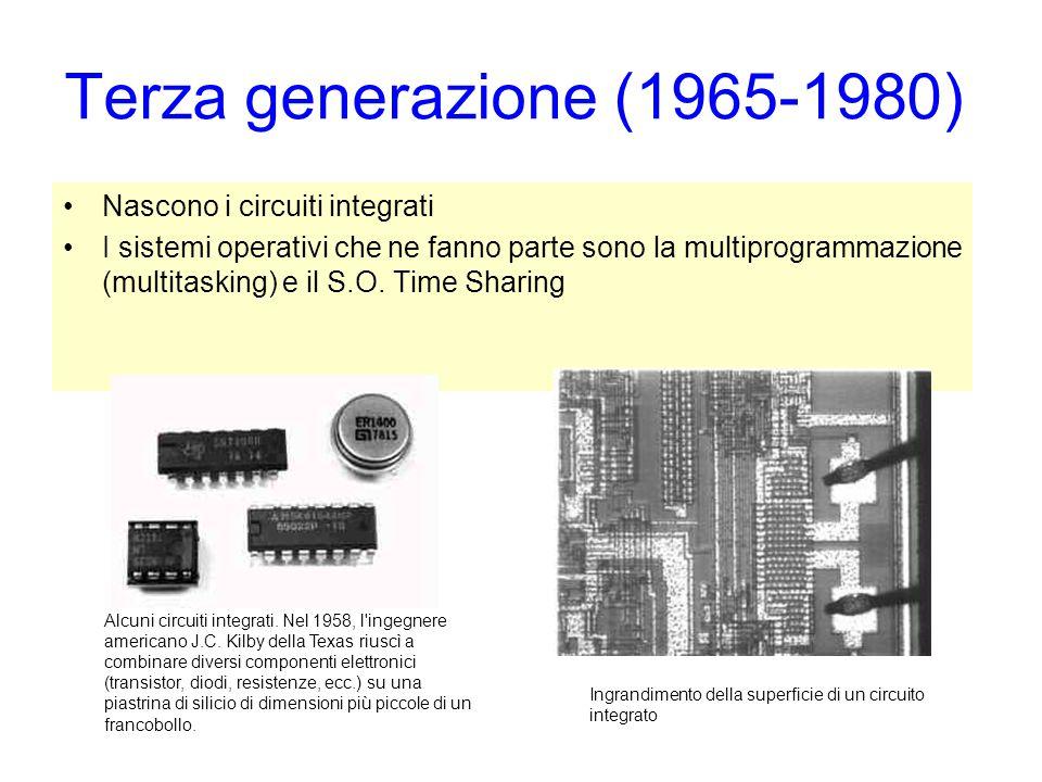Terza generazione (1965-1980) Nascono i circuiti integrati I sistemi operativi che ne fanno parte sono la multiprogrammazione (multitasking) e il S.O.