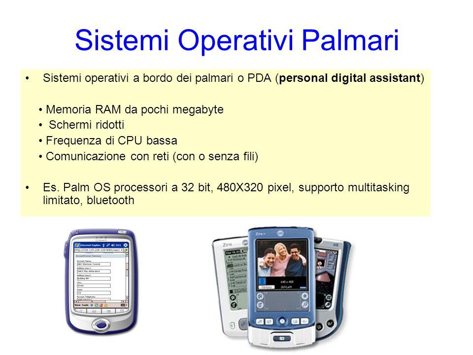 Sistemi Operativi Palmari Sistemi operativi a bordo dei palmari o PDA (personal digital assistant) Memoria RAM da pochi megabyte Schermi ridotti Frequ