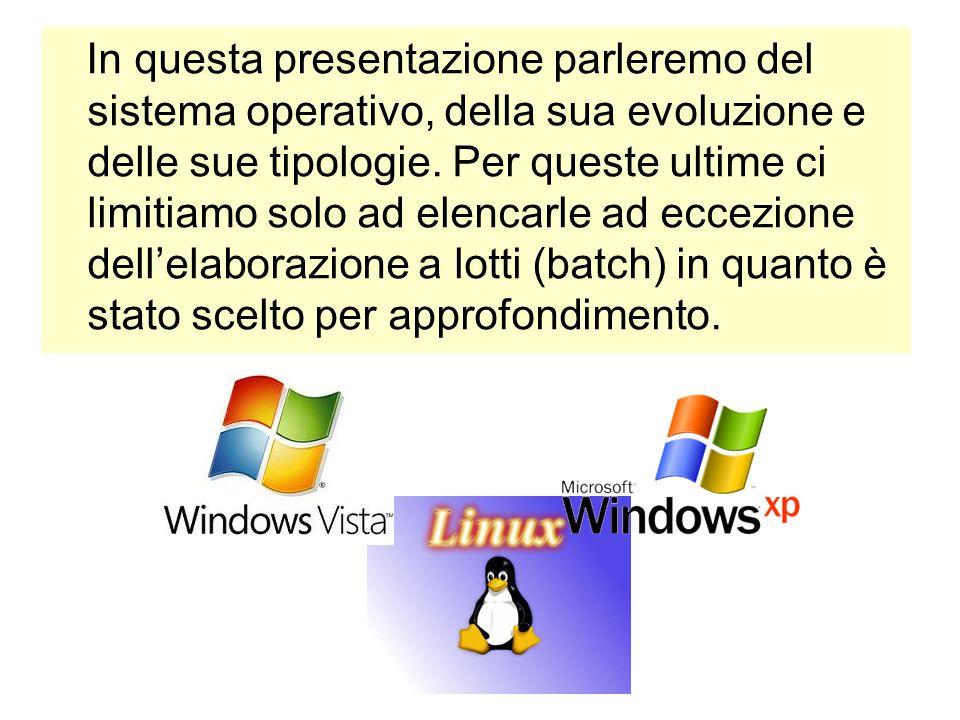 In questa presentazione parleremo del sistema operativo, della sua evoluzione e delle sue tipologie. Per queste ultime ci limitiamo solo ad elencarle