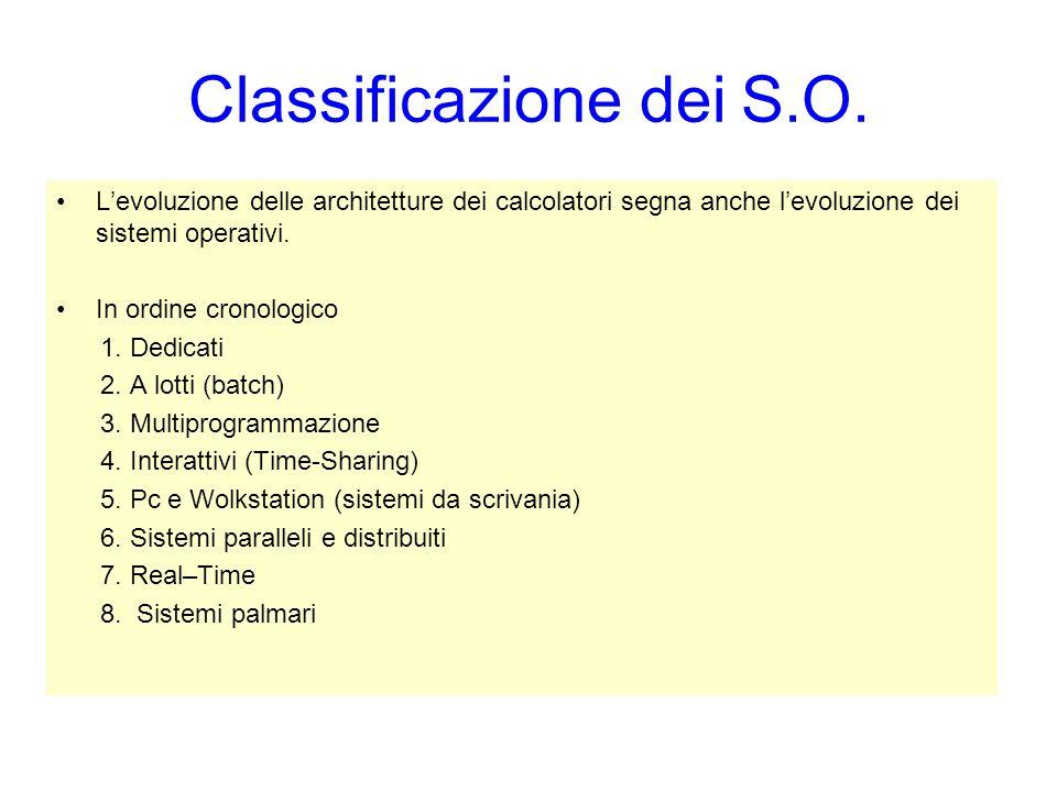 Classificazione dei S.O. L'evoluzione delle architetture dei calcolatori segna anche l'evoluzione dei sistemi operativi. In ordine cronologico 1. Dedi